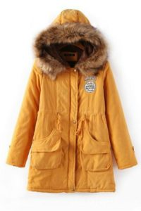 YELLOW HOODED PARKA – JAKET BULU HOODIE KOREA(JYG18911Yellow)