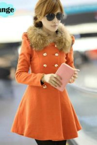JAKET BULU COAT KOREA STYLE – Orange Fur Woolen Coat (JYG1000BAB2 Orange)