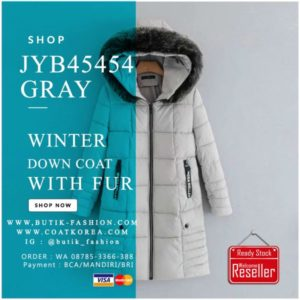 JAKET BULU HOODIE IMPORT – GRAY HOODED FUR JACKET (JYB45454Gray)
