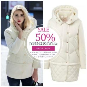 JAKET HOODIE DOWN COAT – ROMANTIC WHITE DOWNCOAT (JYB45621)