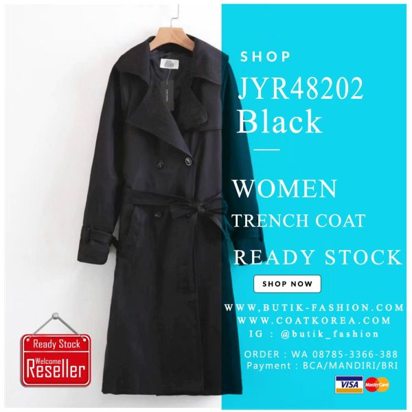 TRENCH COAT IMPORT KOREA STYLE READY STOCK WARNA HITAM - BLAZER IMPORT WANITA KOREA